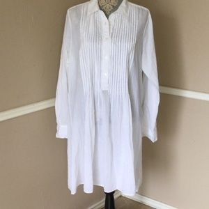Pleated Bright White Cotton Shirt-dress Long SLV